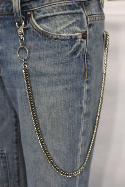 Silver Long Metal Wallet Chains KeyChain Double Clasp Strong Heavh Duty Chains Motorcycle Biker Jeans Punk Rocker New Men Fashion - alwaystyle4you - 5