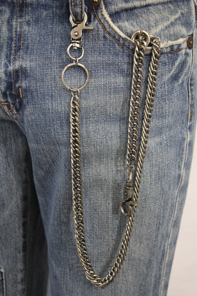 Silver Long Metal Wallet Chains KeyChain Double Clasp Strong Heavh Duty Chains Motorcycle Biker Jeans Punk Rocker New Men Fashion - alwaystyle4you - 3