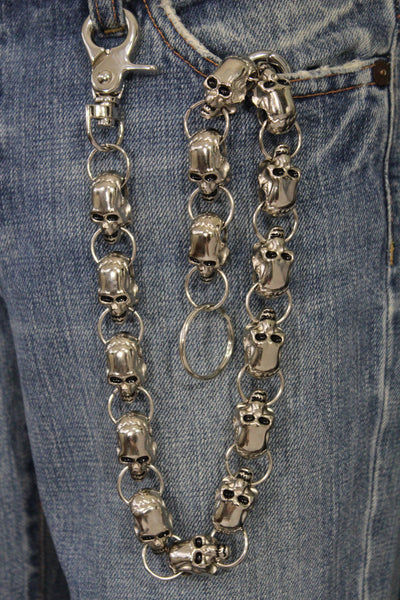 Silver Metal Long Wallet Chains KeyChain Big Skulls Skeleton Biker Motorcycle Jeans New Men style - alwaystyle4you - 11