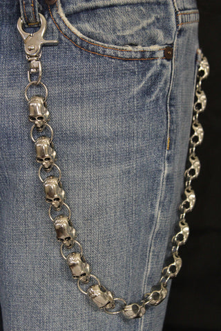 Silver Metal Long Wallet Chains KeyChain Big Skulls Skeleton Biker Motorcycle Jeans New Men style - alwaystyle4you - 1