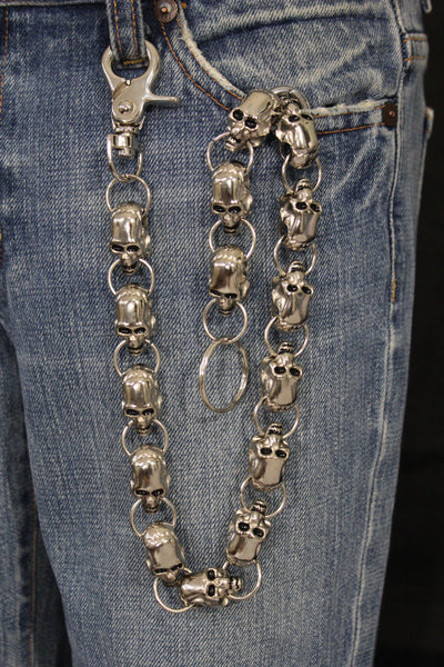 Silver Metal Long Wallet Chains KeyChain Big Skulls Skeleton Biker Motorcycle Jeans Men Accessories