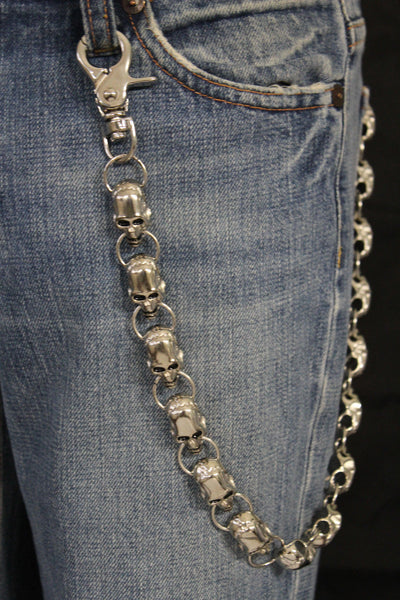 Silver Metal Long Wallet Chains KeyChain Big Skulls Skeleton Biker Motorcycle Jeans New Men style - alwaystyle4you - 8