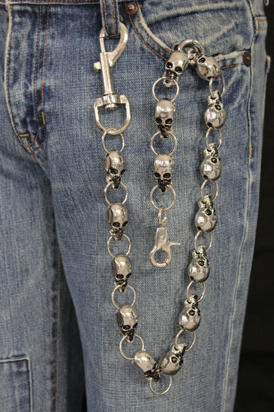 Silver Metal Extra Long Wallet Chains KeyChain Strong Skull Big Skeleton Motorcycle Men Accessories