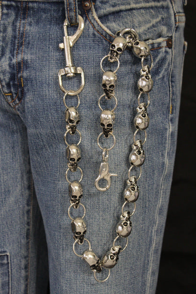 Silver Metal Extra Long Wallet Chains KeyChain Strong Skull Big Skeleton Motorcycle Biker New Men Style