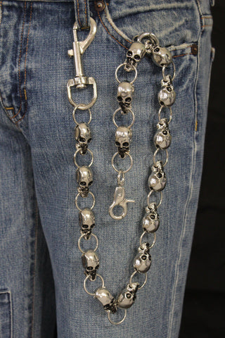 Silver Metal Extra Long Wallet Chains KeyChain Strong Skull Big Skeleton Motorcycle Biker New Men Style - alwaystyle4you - 1