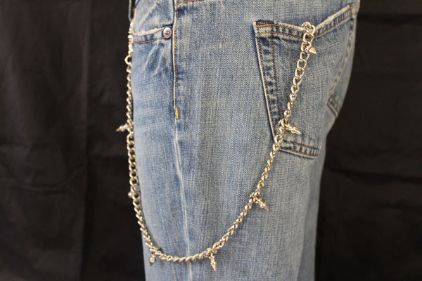 Silver Metal Long Wallet Multi Studs Mini Spikes Jeans Chains KeyChain Punk Rocker Trucker Biker New Men Style - alwaystyle4you - 9