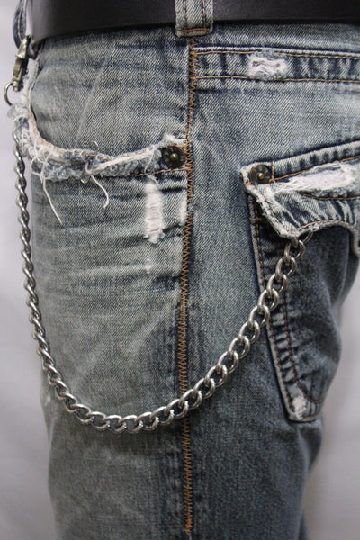 Silver Metal Wallet Chains Thick Link KeyChain Jeans Classic Biker Motorcycle Cowboy Basic Accessory New Men - alwaystyle4you - 1
