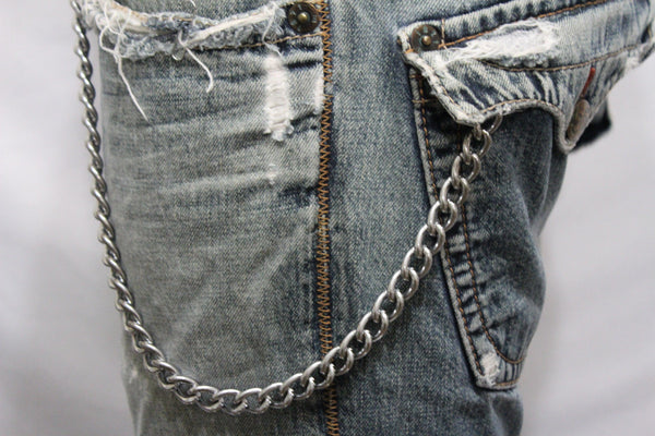Silver Metal Wallet Chains Thick Link KeyChain Jeans Classic Biker Style New Men Accessories