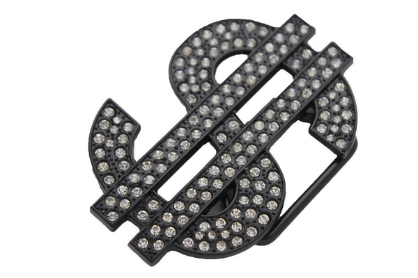 Black Metal Big Money American Dollar $ Silver New Men Women Belt Buckle Fashion - alwaystyle4you - 3