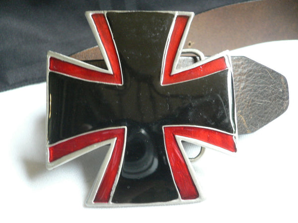 Big Belt Buckle Wide Metal Black Red Cross New Men Women Western Fashion - alwaystyle4you - 8