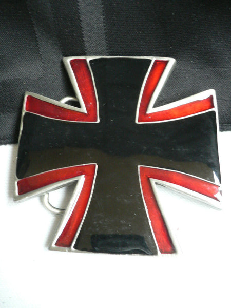 Big Belt Buckle Wide Metal Black Red Cross New Men Women Western Fashion - alwaystyle4you - 10