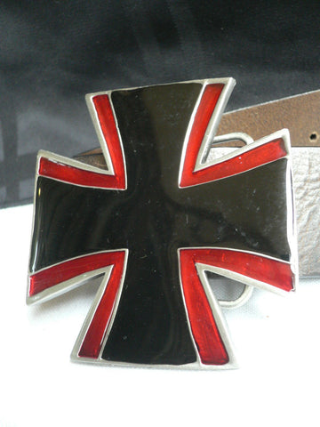 Big Belt Buckle Wide Metal Black Red Cross New Men Women Western Fashion - alwaystyle4you - 1