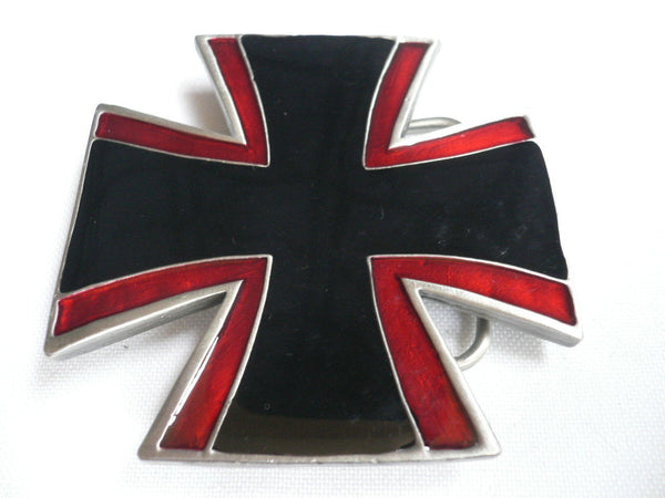 Big Belt Buckle Wide Metal Black Red Cross New Men Women Western Fashion - alwaystyle4you - 2