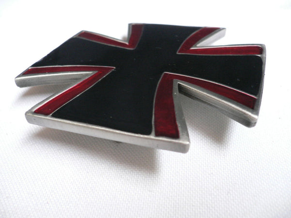 Big Belt Buckle Wide Metal Black Red Cross New Men Women Western Fashion - alwaystyle4you - 4