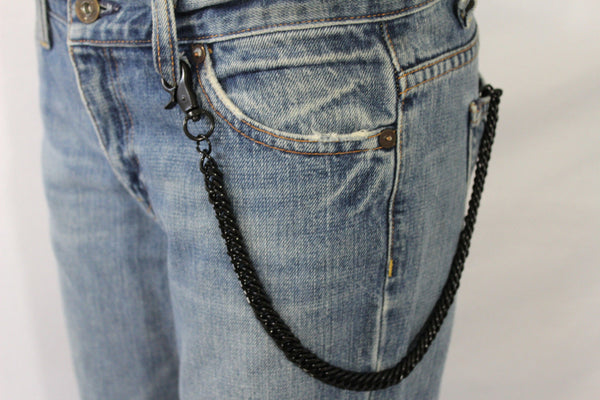 Black Classic Chunky Metal Thick Wallet Chain KeyChain Punk Roker Motorcycle Biker Jeans New Men Women Style - alwaystyle4you - 6