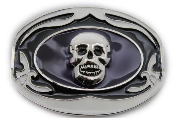 Black White Big Buckle  Silver Skull Skeleton Halloween Oval Gothic Men Women Accessories