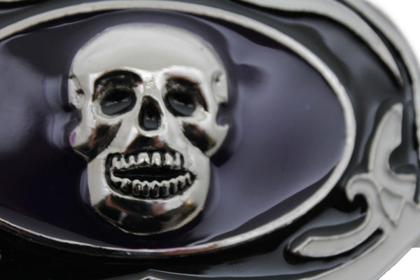 Black White Big Belt buckel Silver Skull Skeleton Halloween Oval Gothic New Men Women Fashion Accessories
