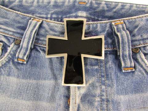 New Men Women Fashion Western Belt Buckle Silver Metal Geometric Black Cross - alwaystyle4you - 1