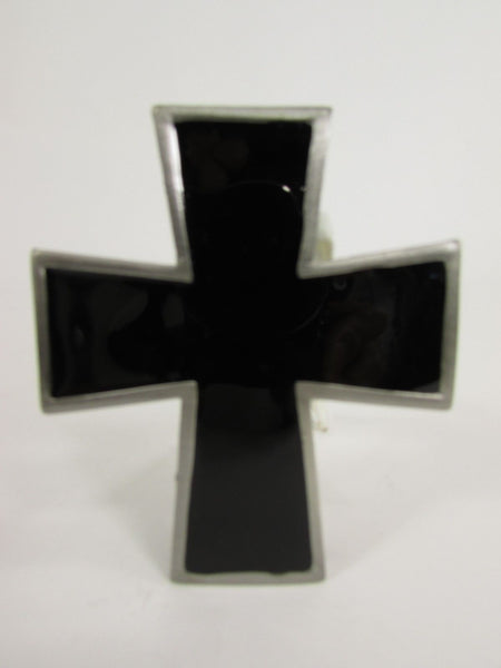 New Men Women Fashion Western Belt Buckle Silver Metal Geometric Black Cross - alwaystyle4you - 2