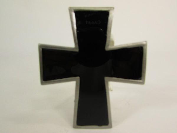 New Men Women Fashion Western Belt Buckle Silver Metal Geometric Black Cross - alwaystyle4you - 4