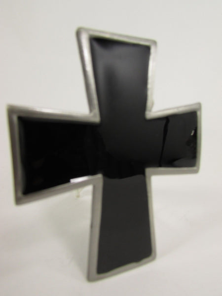 New Men Women Fashion Western Belt Buckle Silver Metal Geometric Black Cross - alwaystyle4you - 5