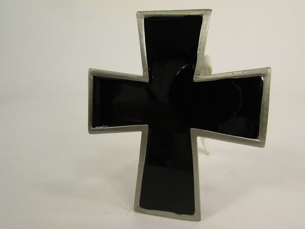 New Men Women Fashion Western Belt Buckle Silver Metal Geometric Black Cross - alwaystyle4you - 6