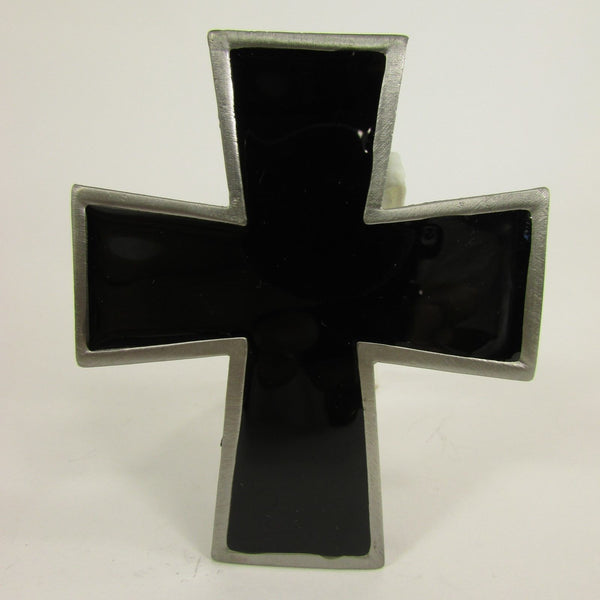 New Men Women Fashion Western Belt Buckle Silver Metal Geometric Black Cross - alwaystyle4you - 8