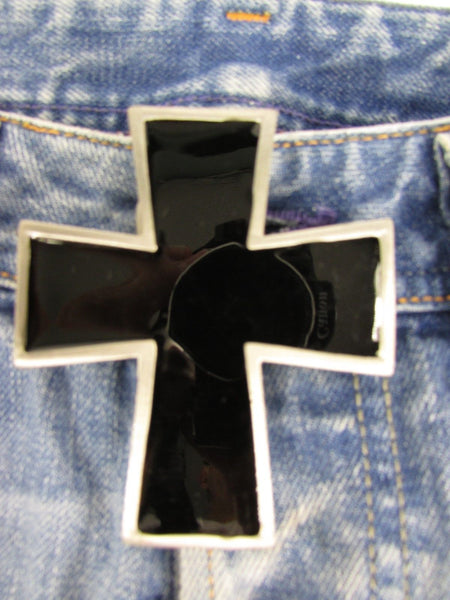 Silver Metal Black Geometric Cross Belt Buckle New Men Women Western Fashion Accessories