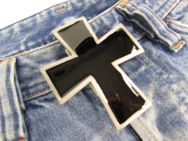 New Men Women Fashion Western Belt Buckle Silver Metal Geometric Black Cross - alwaystyle4you - 7