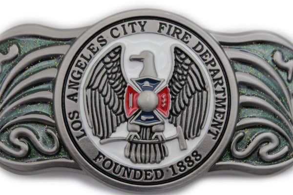 Silver Metal Extra Long Los Angeles LA Fire Department 1888 Belt Buckle Men Accessories