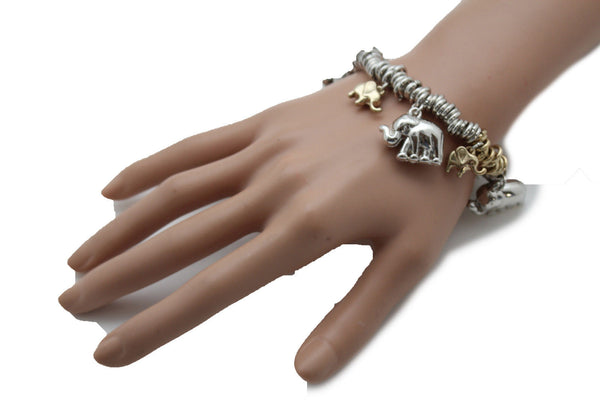 SIlver Elastic Wrist Bracelet Multi Elephant Charm Gold Luck New Women Fashion Jewelry Accessories - alwaystyle4you - 11