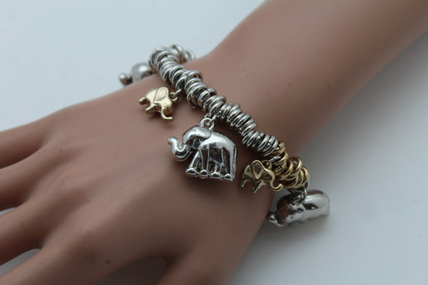 SIlver Elastic Wrist Bracelet Multi Elephant Charm Gold Luck New Women Fashion Jewelry Accessories - alwaystyle4you - 12