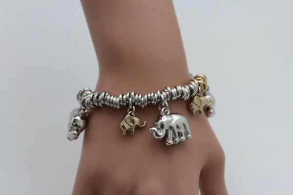 Silver Elastic Wrist Bracelet Multi Elephant Charm Gold Luck New Women Fashion Jewelry Accessories