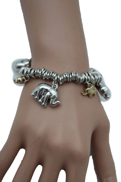 SIlver Elastic Wrist Bracelet Multi Elephant Charm Gold Luck New Women Fashion Jewelry Accessories - alwaystyle4you - 2