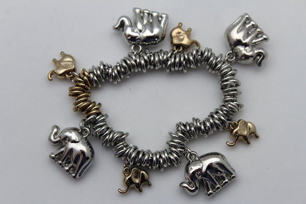 SIlver Elastic Wrist Bracelet Multi Elephant Charm Gold Luck New Women Fashion Jewelry Accessories - alwaystyle4you - 3