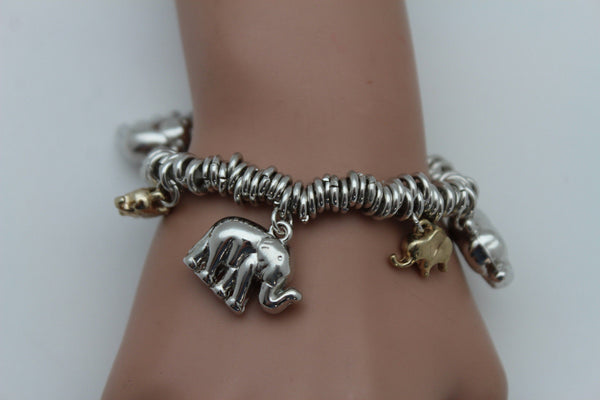 SIlver Elastic Wrist Bracelet Multi Elephant Charm Gold Luck New Women Fashion Jewelry Accessories - alwaystyle4you - 4