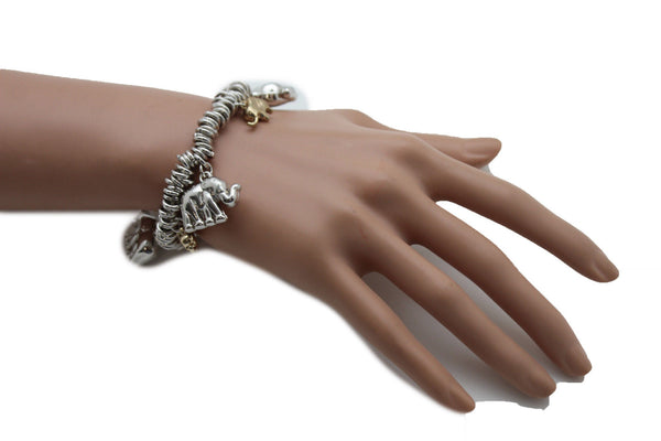 SIlver Elastic Wrist Bracelet Multi Elephant Charm Gold Luck New Women Fashion Jewelry Accessories - alwaystyle4you - 5