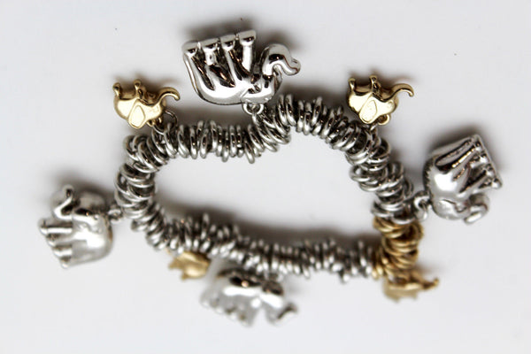 SIlver Elastic Wrist Bracelet Multi Elephant Charm Gold Luck New Women Fashion Jewelry Accessories - alwaystyle4you - 7