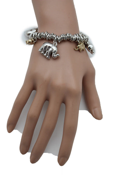 SIlver Elastic Wrist Bracelet Multi Elephant Charm Gold Luck New Women Fashion Jewelry Accessories - alwaystyle4you - 8