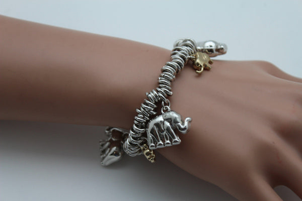 SIlver Elastic Wrist Bracelet Multi Elephant Charm Gold Luck New Women Fashion Jewelry Accessories - alwaystyle4you - 9