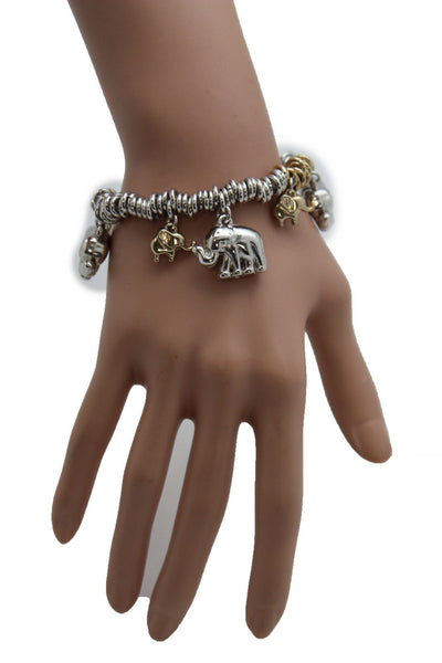 SIlver Elastic Wrist Bracelet Multi Elephant Charm Gold Luck New Women Fashion Jewelry Accessories - alwaystyle4you - 10