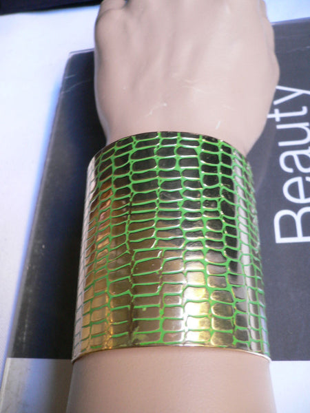 Gold Metal Sexy Dressy Unique Chic Wide Cuff Bracelet Green Flexible New Women Fashion Jewelry Accessories