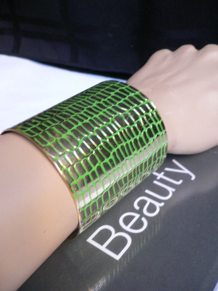 Gold Metal Sexy Dressy Unique Chic Wide Cuff Bracelet Green Flexible New Women Fashion Jewelry Accessories - alwaystyle4you - 1