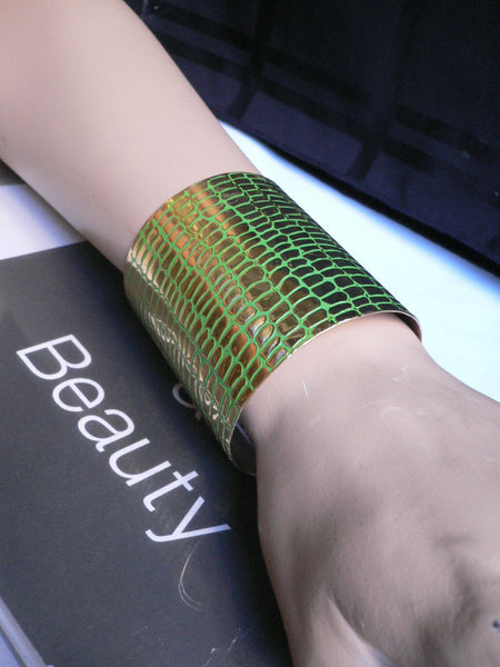 Gold Metal Sexy Dressy Unique Chic Wide Cuff Bracelet Green Flexible New Women Fashion Jewelry Accessories - alwaystyle4you - 2