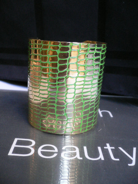 Gold Metal Sexy Dressy Unique Chic Wide Cuff Bracelet Green Flexible New Women Fashion Jewelry Accessories - alwaystyle4you - 4