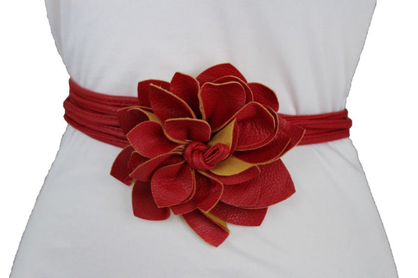 New Women Red Chic Belt Fashion Waist Tie Fabric Wrap Flower Buckle XS S M