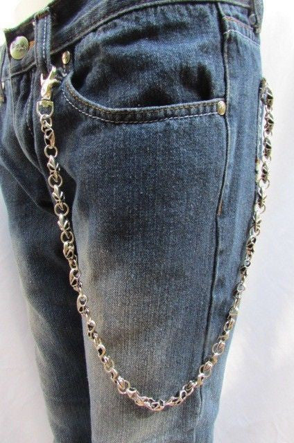 beauty top design great quality Silver Metal Jeans Long Chains Wallet Ring Multi Mini UFO Keychain Rocker  Men Style Accessories
