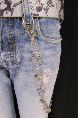 "Silver Metal 25"" Long Wallet Key Chain Links Skeleton Skulls Rings Rocker Punker Punk Rock New Men Fashion - alwaystyle4you - 8"