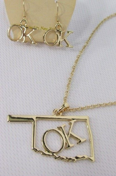 "Gold Long Chains OK Oklahoma Pendant Necklace  + Earrings Set New Women 18"" Fashion - alwaystyle4you - 3"