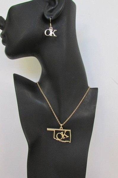 "Gold Long Chains OK Oklahoma Pendant Necklace  + Earrings Set New Women 18"" Fashion - alwaystyle4you - 4"